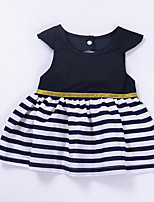 Girl's Striped Color Block Dress
