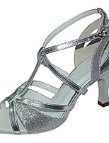 Women's Latin Faux Leather Sandals Performance Silver 3