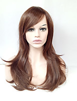 Middle Long Natural Straight Wig Light Brown Glueless Synthetic Wig for European Women