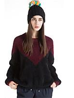 Для женщин На каждый день Простое Короткий Пуловер Однотонный Контрастных цветов,Круглый вырез Длинный рукав Хлопок Акрил Полиэстер Осень