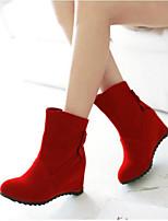 Feminino Sapatos Couro Ecológico Inverno Conforto Botas Para Casual Preto Vermelho
