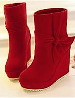 Feminino Sapatos Couro Ecológico Pele Nobuck Outono Inverno Conforto Botas Para Casual Vermelho