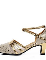 Non Customizable Women's Dance Shoes Heels Latin Leather Chunky Heel Outdoor Gold/Silver