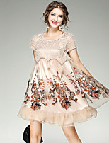 EWUS/Women's Going out Casual/Daily Cute Street chic Lace DressFloral Round Neck Above Knee Short Sleeve Polyester Spandex Summer FallMid