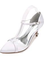 Для женщин Свадебная обувь С Т-образной перепонкой Удобная обувь Туфли лодочки С ремешком на лодыжке Сатин Весна ЛетоСвадьба Для