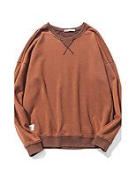 Men's Casual/Daily Sweatshirt Solid Round Neck Inelastic Cotton Long Sleeve Fall