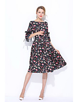 STEPHANIE Women's Going out Casual/Daily Cute Loose Sheath Lace DressFloral Boat Neck Midi Half Sleeve Silk Summer Mid Rise Micro-elasticSheer