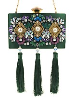 L.WEST Women's fashion jewel set auger dinner bag heavy tassels hand bag