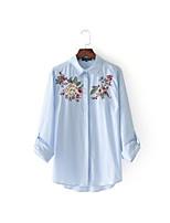 Для женщин На выход На каждый день Лето Футболка Рубашечный воротник,Простое Уличный стиль Полоски Вышивка Длинный рукав,Шёлк Хлопок,