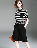 EWUS/Women's Casual/Daily Street chic Summer Fall T-shirt Pant SuitsStriped Stand Short Sleeve Micro-elastic