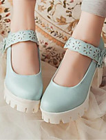 Women's Shoes Nubuck leather PU Spring Comfort Heels For Casual White Blue Blushing Pink