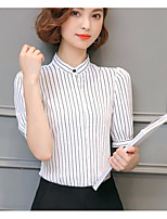 Women's Casual/Daily Simple Spring Summer Blouse,Striped Stand Short Sleeve Others