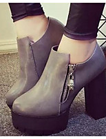 Women's Heels Comfort Spring Fall PU Casual Black Gray 2in-2 3/4in