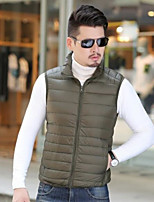 Men's Down Coat,Simple Going out Casual/Daily Solid-Others White Duck Down Sleeveless