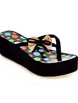 Women's Slippers & Flip-Flops Comfort Fleece Summer Casual Comfort Wedge Heel Blue Black Under 1in