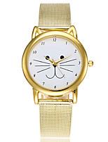 Жен. Нарядные часы Модные часы Японский Кварцевый сплав Группа Мультфильмы С подвесками Повседневная Кошка Элегантные часы Золотистый