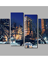 4 Pieces Framed City Garden Snow Scenery Posters Bridge & River Scene Painting Printed on Canvas For Home Decoration