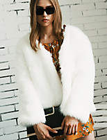 Women's Going out Casual/Daily Work Simple Active Fall Winter Fur Coat Solid V Neck Long Sleeve Regular Faux Fur White/Black/Pink/Green S-2XL