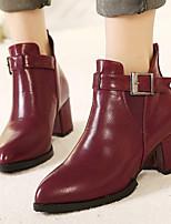 Feminino Botas Conforto Botas da Moda Pele Real Couro Ecológico Inverno Casual Preto Vermelho Rasteiro