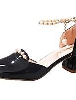 Для женщин Обувь на каблуках Удобная обувь Полиуретан Лето Повседневные Для прогулок Жемчуг На низком каблуке Черный Бежевый Розовый4,5 -