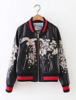 Для женщин Спорт На выход Весна Осень Кожаные куртки Воротник-стойка,Простой С принтом Контрастных цветов Обычная Длинный рукав,Другое,