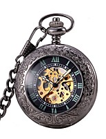Men's Pocket Watch Automatic self-winding Hollow Engraving Alloy Band Black