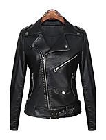 Для женщин На каждый день Весна Осень Кожаные куртки Лацкан с острым углом,Уличный стиль Панк & Готика Однотонный Обычная Длинный рукав,