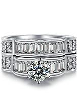 Women's Band Rings AAA Cubic Zirconia Multi Layer Vintage Luxury Elegant Silver Cubic Zirconia Rhinestone Circle Jewelry For Wedding