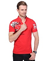 Men's Plus Size Fashion Slim Print Short Sleeve Polo Shirt Stand Collar Cotton Spandex Medium