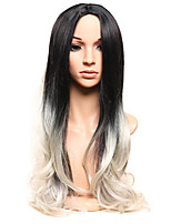 Long Black Mix Grey Body Wave Wig for Women Costume Cosplay Synthetic Wigs