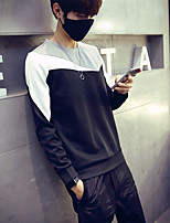 Men's Sports Plus Size Casual/Daily Sweatshirt Solid Color Block Round Neck Micro-elastic Cotton Long Sleeve Spring Fall