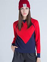 Для женщин На каждый день Простое Обычный Пуловер Однотонный Контрастных цветов,Круглый вырез Длинный рукав Шерсть Полиэстер Осень Зима