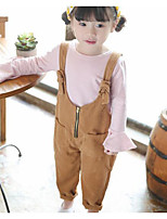 Girls' Solid Overall & Jumpsuit-Rayon Spring