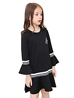 Girl's Solid Dress Fall Long Sleeve