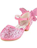 Girls' Flats Comfort Novelty Flower Girl Shoes Fall Winter Paillette Leatherette Casual Dress Sequin Flat Heel Blushing Pink Silver Flat