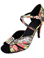 Women's Latin Satin Sandals Performance Pattern/Print Stiletto Heel Black 3