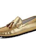 Hombre Zapatos de taco bajo y Slip-Ons Mocasín Primavera Otoño Invierno Cuero de Napa Casual Fiesta y Noche Dorado Plata Plano