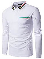 Men's Going out Casual/Daily Simple Fall Polo,Solid Shirt Collar Long Sleeves Cotton