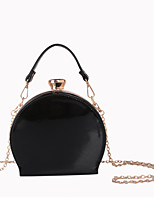 Women Tote Patent Leather All Seasons Casual Formal Outdoor Office & Career Circle Rhinestone Smooth Metallic Buckle Chain SnapRed Black