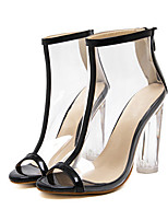 Damen Stiefel Komfort Neuheit Stiefeletten PVC Leder Sommer Herbst Kleid Walking Blockabsatz Schwarz Rosa 12 cm & mehr