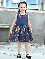 Girl's Cotton Fashion And Lovely Embroidered Skirt Wavy Floral Print Doll Neck With Sleeveless Cowboy Princess Dress