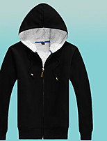 Men's Sports Going out Casual/Daily Simple Hoodie Solid Oversized Stand Micro-elastic Cotton Long Sleeve Spring Fall Winter