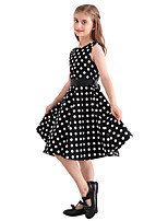 Girl's Black White Polka Dot Vintage Inspired Sleeveless 50s Rockabilly Swing Dress Cotton All Seasons