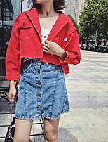 Для женщин На выход На каждый день Осень Зима Кожаные куртки V-образный вырез,Простой Уличный стиль Однотонный Короткая Длинный рукав,