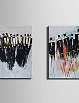 Ручная роспись Люди Вертикальная,Абстракция 2 панели Холст Hang-роспись маслом For Украшение дома