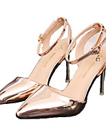 Women's Heels Comfort Summer Fall Patent Leather Walking Shoes Dress Party & Evening Office & Career Buckle Stiletto Heel Gold Silver
