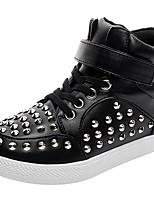 Boys' Fashion Sneakers Comfort Light Soles Girl's Leather Fall Winter Casual Outdoor Classic Studded Shoes Stylish Flat Heel Black White Flat