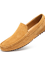 Men's Loafers & Slip-Ons Moccasin Light Soles Spring Summer Leather Casual Office & Career Flat Heel Khaki Light Brown Blue Flat