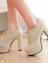 Для женщин Обувь Полиуретан Лето Осень Удобная обувь Обувь на каблуках С Назначение Повседневные Черный Коричневый Миндальный
