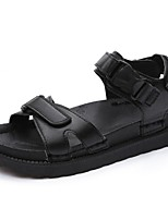 Men's Sandals Comfort Spring Summer PU Casual Low Heel Black Gray Under 1in